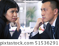 Two Business people staring at each other across a table 51536291