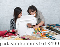 seamstress and her apprentice with sewing machine 51613499