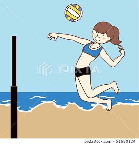 바다에서 비치 발리볼 여자 선수 51690124