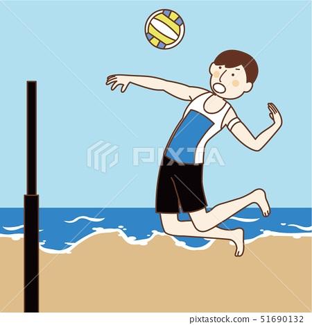 Beach volleyball man at sea 51690132