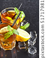 Two glasses with cold traditional iced tea with 51717981