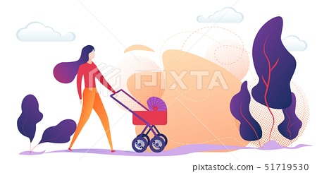 Young Mother Pushing Baby Stroller in Countryside 51719530