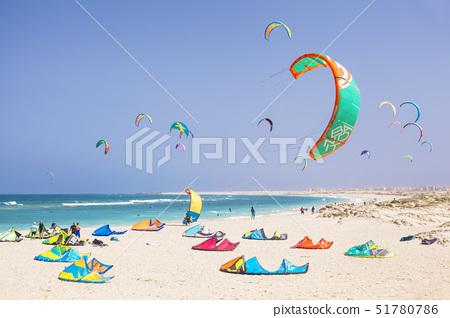Kite surfers and kite surfing on Kite beach, Praia da Fragata, Costa da Fragata, Santa Maria, Sal Is 51780786