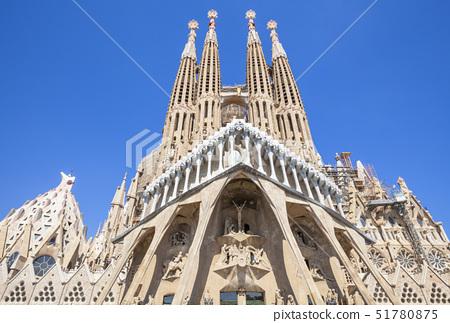 La Sagrada Familia church designed by Antoni Gaudi, back view, UNESCO World Heritage Site, Barcelona 51780875