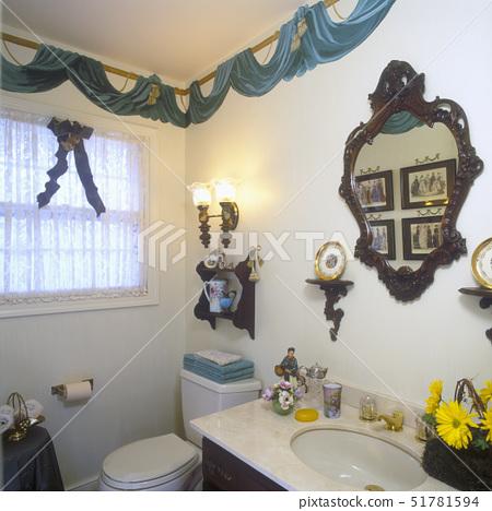 BATHROOMS: Painted drape border. Mirror. Wall shelves. Lace.,Illinois, USA 51781594