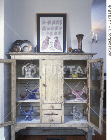 COLLECTION  -Beaded safety pin baskets in antique crackled cupboard, textured stucco walls, decoupag 51781966