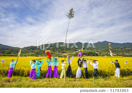 허수아비,논,평사리,악양면,하동군,경남 51783863