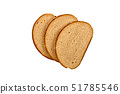Three fresh bread slices isolated on white 51785546