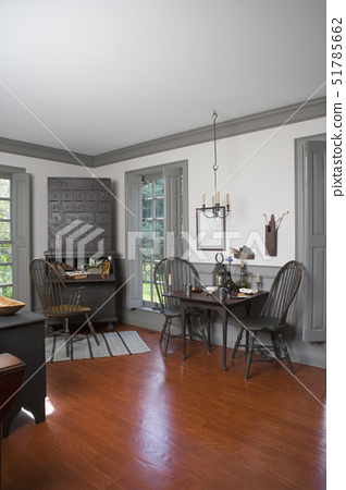LIVING ROOM: contemporary version of a period style living room, grey painted wood work, dado,  shut 51785662