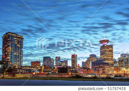 Vancouver skyline and high rise buildings at night, Vancouver, British Columbia, Canada, North Ameri 51787428