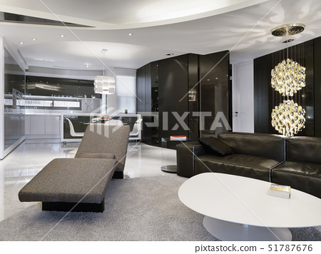 Modern living room with chaise lounge recliner and white coffee table,Taipei City, Taiwan 51787676