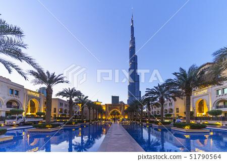 Burj Khalifa and Palace Hotel at dusk, Downtown, Dubai, United Arab Emirates, Middle East 51790564