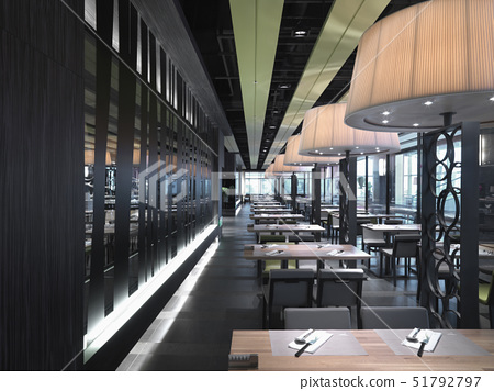 Row of dining tables in modern restaurant 51792797