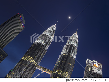 Petronas Twin Towers with the moon showing in between, Kuala Lumpur, Malaysia, Southeast Asia, Asia 51793221