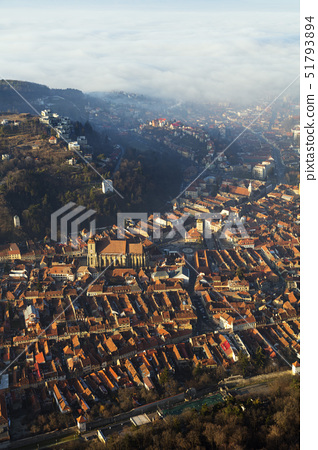 Hilltop view of Brasov old town, The Black Church and History Museum, Brasov, Romania, Europe 51793894