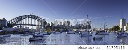 Sydney Harbour Bridge and skyline from Lavender Bay, Sydney, New South Wales, Australia, Pacific 51795156