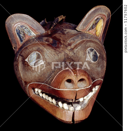 Painted wooden mask in the form of a wolf 51797602