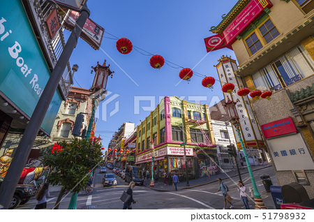 View of traditioxxxlly decorated street in Chixxxtown, San Francisco, California, United States of A 51798932
