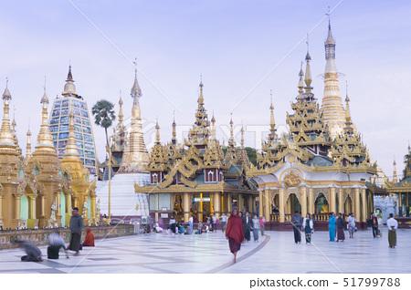 Devotees paying obeisance at the Shwedagon pagoda complex in Yangon (Rangoon), Myanmar (Burma), Sout 51799788
