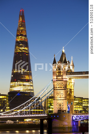 The Shard building and Tower Bridge at Night, London, United Kingdom.  The Shard is the tallest buil 51800118