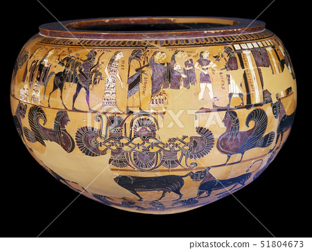 Black-figured bowl (dinos) and stand,signed by Sophilos as painter 51804673