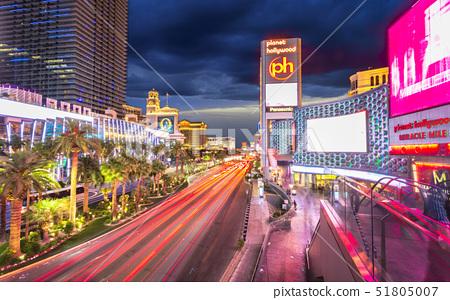 Planet hollywood at night, The Strip, Las Vegas Boulevard, Las Vegas, Nevada, United States of Ameri 51805007