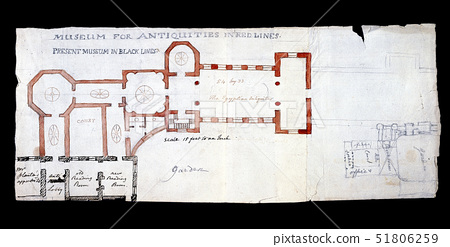 Charles Townley's sketch for a proposed Museum extension,London,AD 1803 51806259
