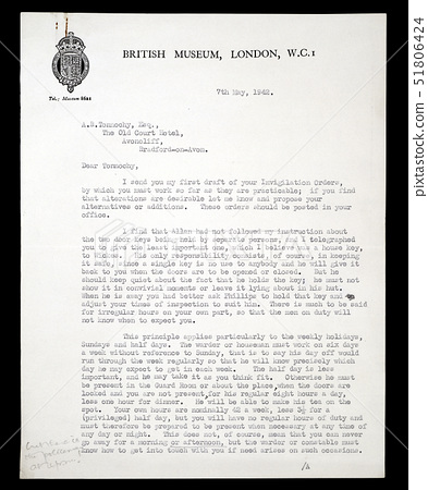 Letter relating to the evacuation of the British Museum's collections during the Second World War (p 51806424