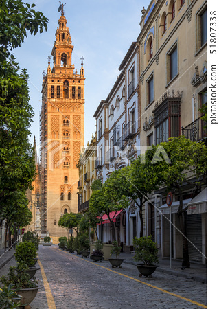 The Giralda Bell tower at first sunlight, UNESCO World Heritage Site, Seville, Andalusia, Spain, Eur 51807338