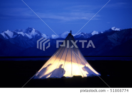China,Tibet,looking for plants&stones,a camp in the mountains at night 51808774