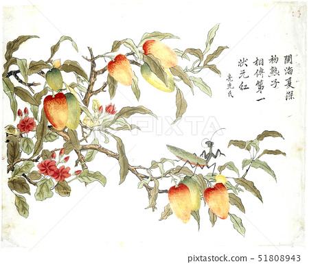 Ding Liangxian,Arbutus and Grasshopper,a colour woodblock print 51808943