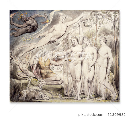 William Blake,The Judgment of Paris,a watercolour 51809982