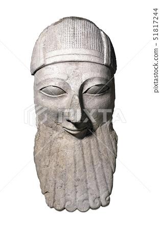 Limestone head of a bearded worshipper 51817244