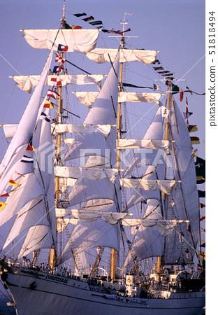 France,Seine Maritime,a sailing ship over the Seine estuary in Honfleur, 51818494