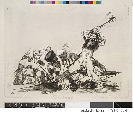 Plate 3: Desperate man wielding axe against soldiers,from Disasters of War. Francisco Goya (1746-182 51819246
