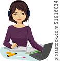 Teen Girl Study Music Illustration 51916034