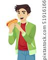 Teen Guy Hotdog Illustration 51916166