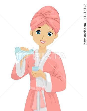 Teen Girl Spa Science Illustration 51916192