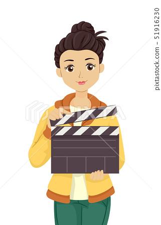 Teen Girl Hold Clapper Illustration 51916230