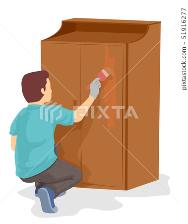 Teen Boy Woodworking Paint Illustration 51916277
