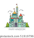 Cartoon fairy tale castle or flat kingdom fort 51919796