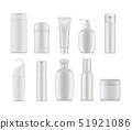 Set of isolated cosmetic or perfume containers 51921086
