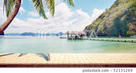 Colorful detailed summer seaside wooden platform closeup background, front view (high resolution 3D CG rendering ∕ coloring illustration) 52131269