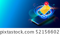 Modern Mobile Cell Phone on Colorful Background. 52156602