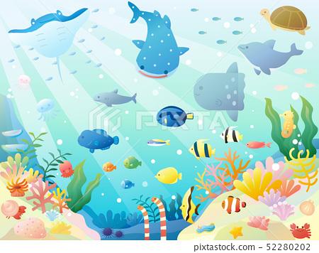 可愛的海洋生物的插圖 52280202
