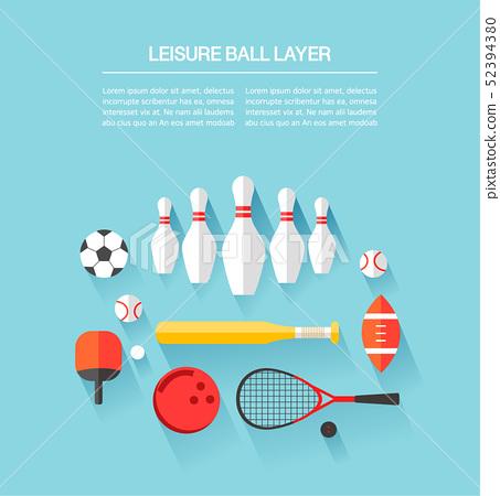 彈球足球乒乓球保齡球休閒鍛煉層集合信息圖表 52394380