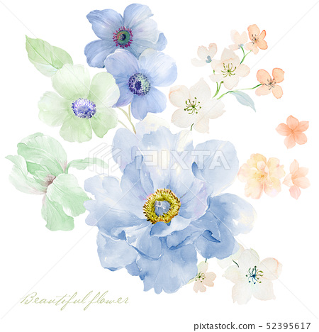 水彩玫瑰花卉集合 52395617