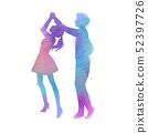 Silhouettes of  happy young couple dancing. Happy 52397726