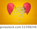 3d rendering of silver gear wheels falling between two red broken heart pieces on yellow background 52398246