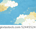 Illustration to feel the texture of Japanese paper (Summer sky, clouds) 52445524